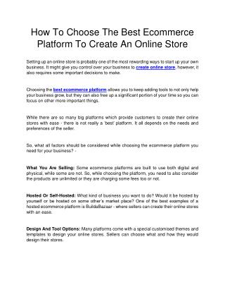 How To Choose The Best Ecommerce Platform To Create An Online Store