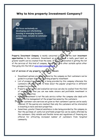Why to Hire property Investment Company?
