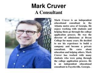 Mark Cruver - A Consultant
