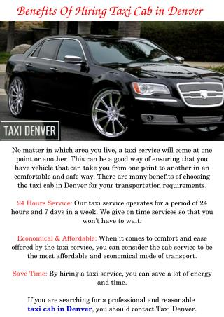 Taxi Cab in Denver