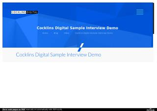 Cocklins Digital Sample Interview Demo | Washington