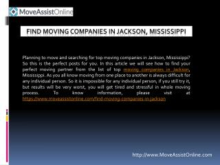 2016's Top Moving Companies in Jackson, Mississippi