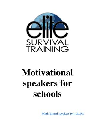 Motivational speakers for schools