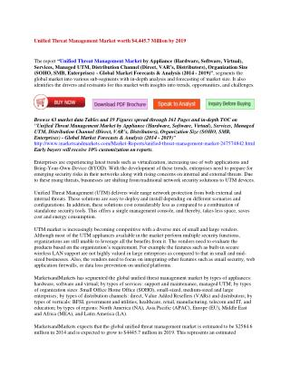 Unified Threat Management Market worth $4,445.7 Million by 2019