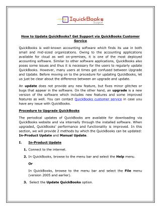 Get Support via QuickBooks Customer Service 1-865-407-2488