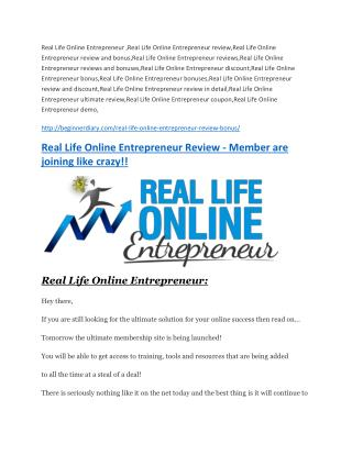 Real Life Online Entrepreneur review in detail � Real Life Online Entrepreneur Massive bonus