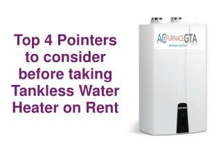 Tankless water heater rental
