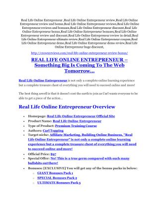 Real Life Online Entrepreneur Review � (Truth) of Real Life Online Entrepreneur and Bonus