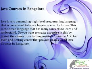 Java Courses in Bangalore