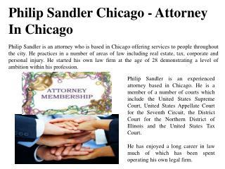 Philip Sandler Chicago - Attorney In Chicago