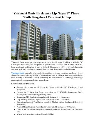 Vaishnavi Oasis developed by Vaishnavi Group