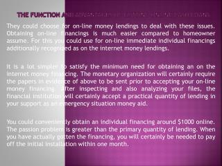 The Function and Advantages of Getting Online Cash