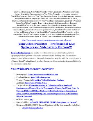 YourVideoPresenter review - YourVideoPresenter (MEGA) $23,800 bonuses