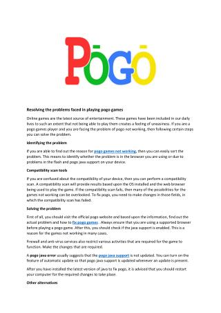 Best Support for Pogo Games support,Best Solution for Pogo not working,Better fix pogo games