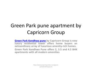 Capricorn Group  Green Park pune projects by Capricorn developers
