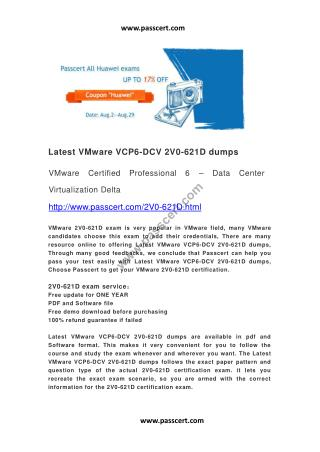 Latest VMware VCP6-DCV 2V0-621D dumps