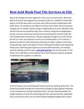 Best acid wash pool tile services in usa