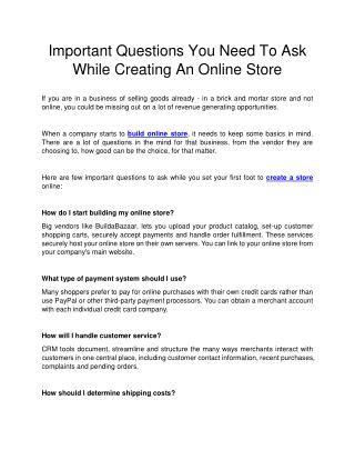 Important Questions You Need To Ask While Creating An Online Store