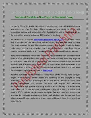 Panchsheel Pratishtha - New Project of Panchsheel Group