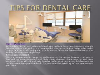 Tips for Dental Care
