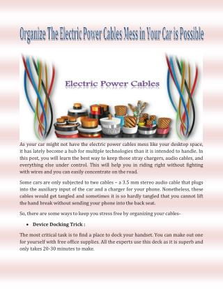 Organize The Electric Power Cables Mess in Your Car is Possible