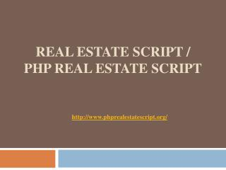 Real Estate Script / PHP Real Estate Script