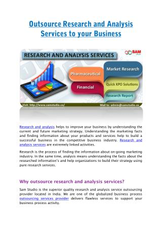 Outsource Research and Analysis Services to your Business