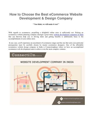 How to Choose the Best eCommerce Website Development & Design Company