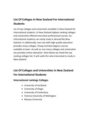 List Of Colleges In New Zealand For International Students
