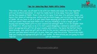 Tips for Selecting Best Rakhi Gifts Online