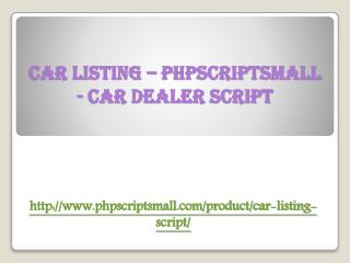 Car Listing – PHPSCRIPTSMALL - Car Dealer Script