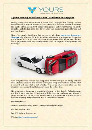 Tips on Finding Affordable Motor Car Insurance Singapore