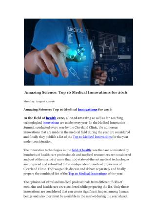 Top Medical Innovations at Healthcare 2016