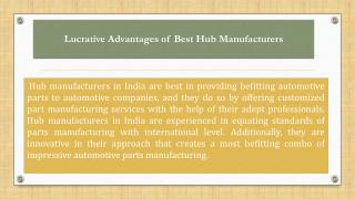 Lucrative Advantages of Best Hub Manufacturers