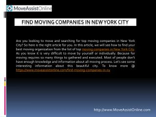 Top Moving Companies in New York City
