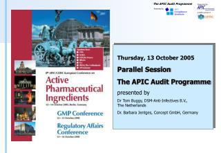 API GMP Audits   Regulatory Framework Directive 2001