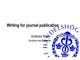 Writing for journal publication