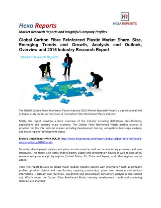 Carbon Fibre Reinforced Plastic Market Share, Size, Emerging Trends and Analysis