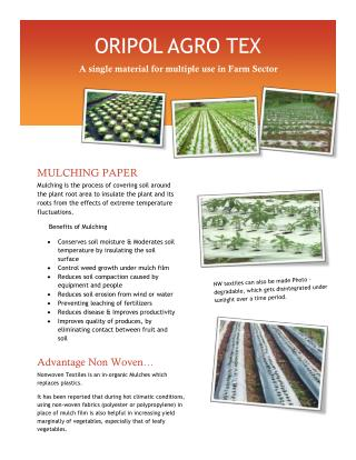 ORIPOL AGRO TEX - Nonwoven Textiles