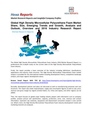 High Density Microcellular Polyurethane Foam Market Share, Size, Emerging Trends and Analysis