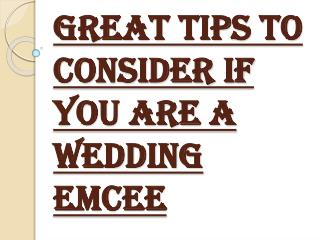 Consider Some Points If You are a Wedding Emcee