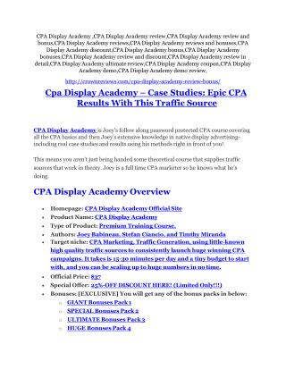 CPA Display Academy review and (SECRET) $13600 bonus