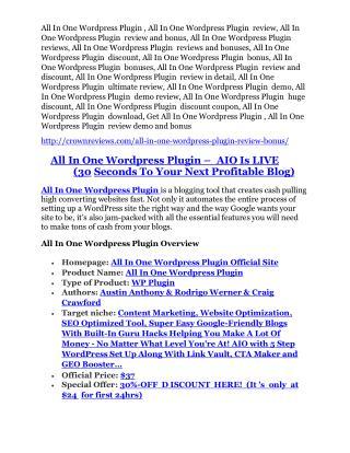 All In One Wordpress Plugin Review-$32,400 bonus & discount