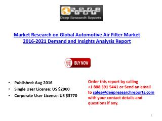 Global Automotive Air Filter Industry 2016-2021 Market Trends and Demands Research Report