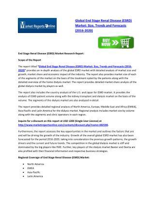 Global ESRD Market Analysis: Key Major Players are Fresenius Medical Care AG & Co. KGaA, Baxter International & Davita H