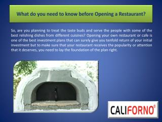 What do you need to know before Opening a Restaurant?