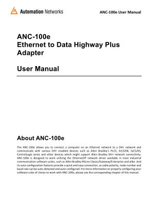 Ethernet/IP to DH  Converter User Manual