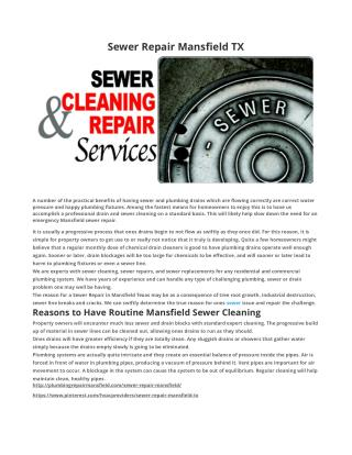 Sewer Repair Mansfield TX