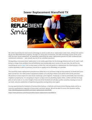 Sewer Replacement Mansfield TX