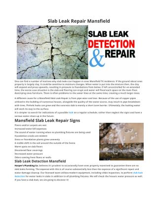 Slab Leak Repair Mansfield TX